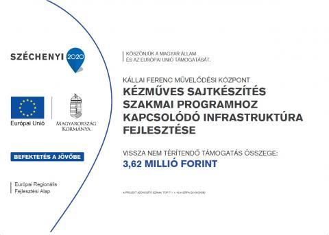 TOP-7.1.1-16-H-ERFA-2019-00390 - Kézműves sajtkészítés szakmai programhoz kapcsolódó infrastruktúra fejlesztése